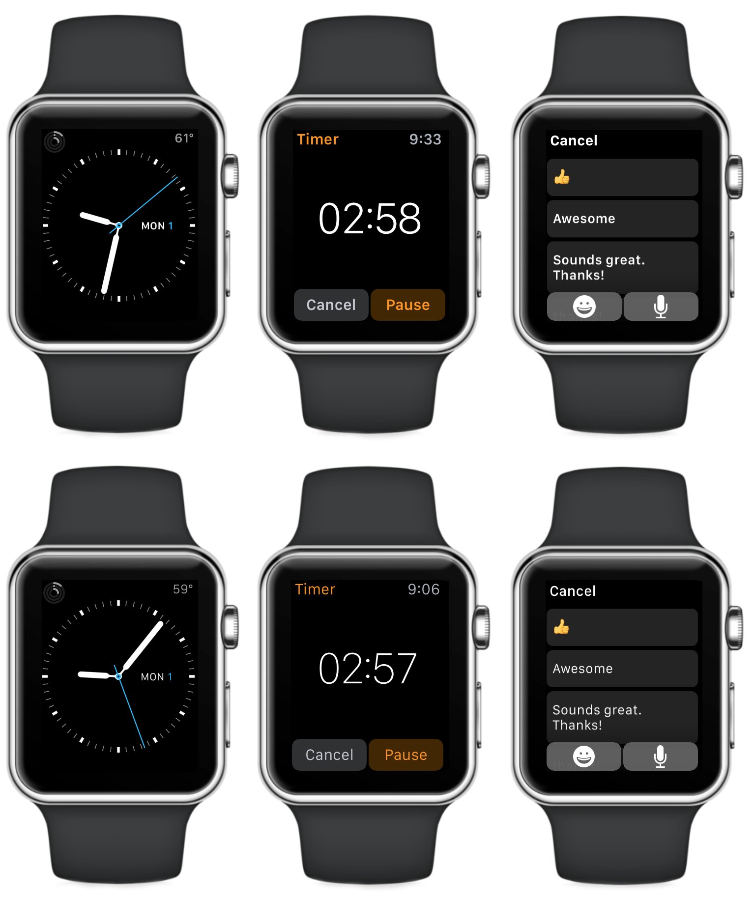 Apple Watch with bold and unbold text