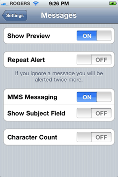 iPhone's Group and MMS Messaging Settings for AT&T