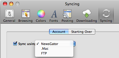 NetNewsWire Syncing Options