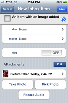 A photo attachment on OmniFocus for iPhone