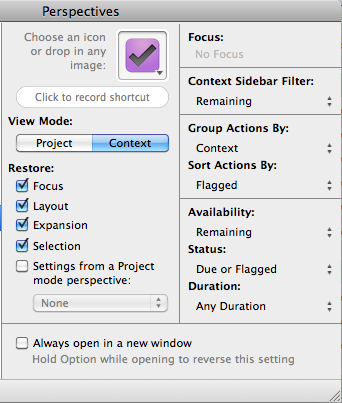 Buildig Custom Perspectives in OmniFocus